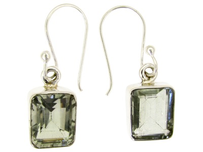 Square Shaped Green Amethyst Shaped Earrings