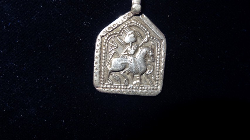 Antique Horseman silver pendant from Rajasthan