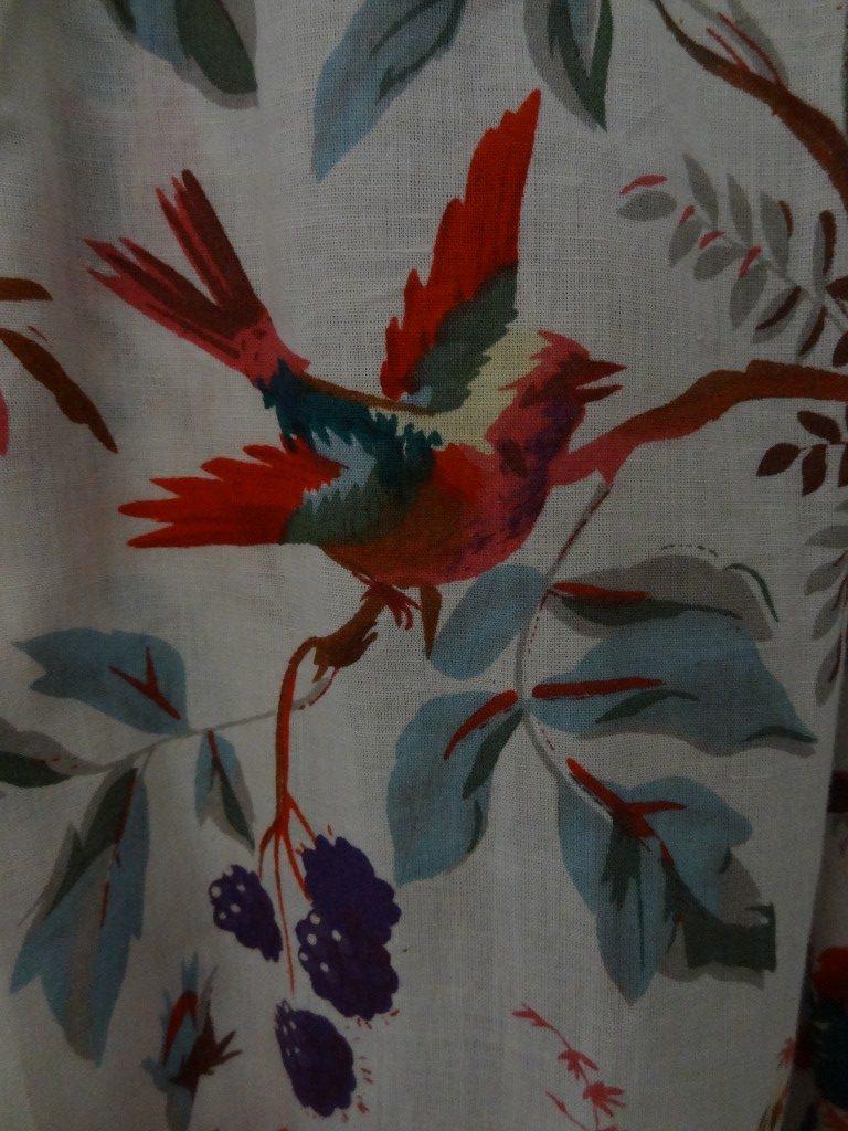 Detail of Bird of Paradise block printed kaftan