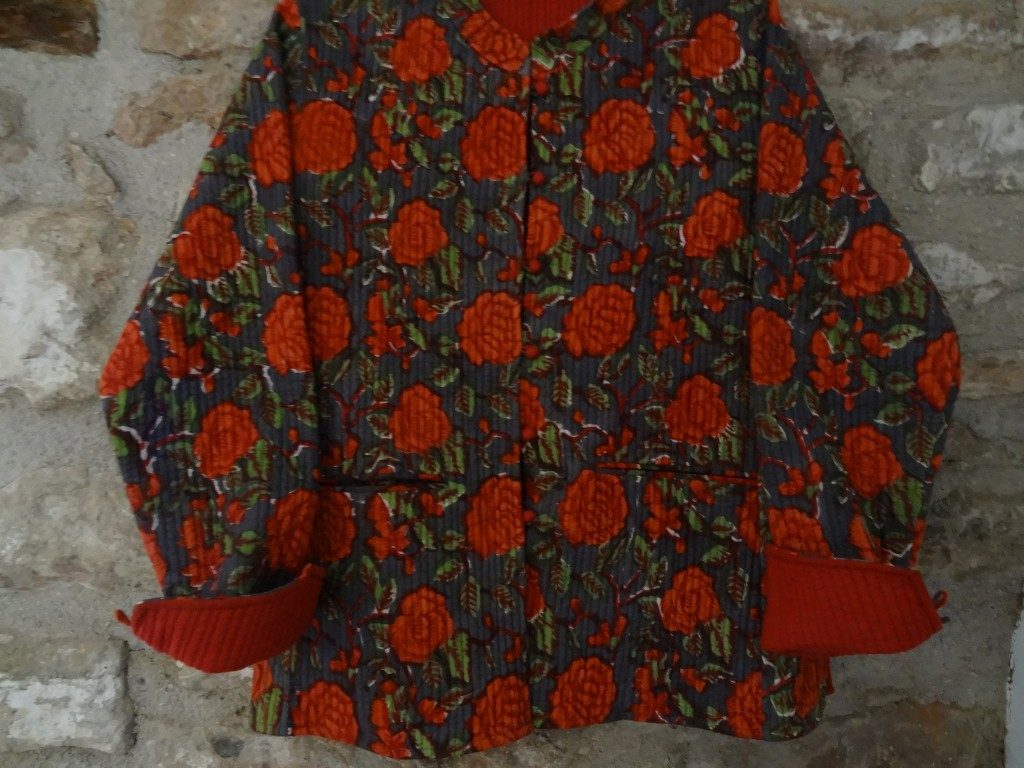 Block printed Indian cotton lightly quilted jacket