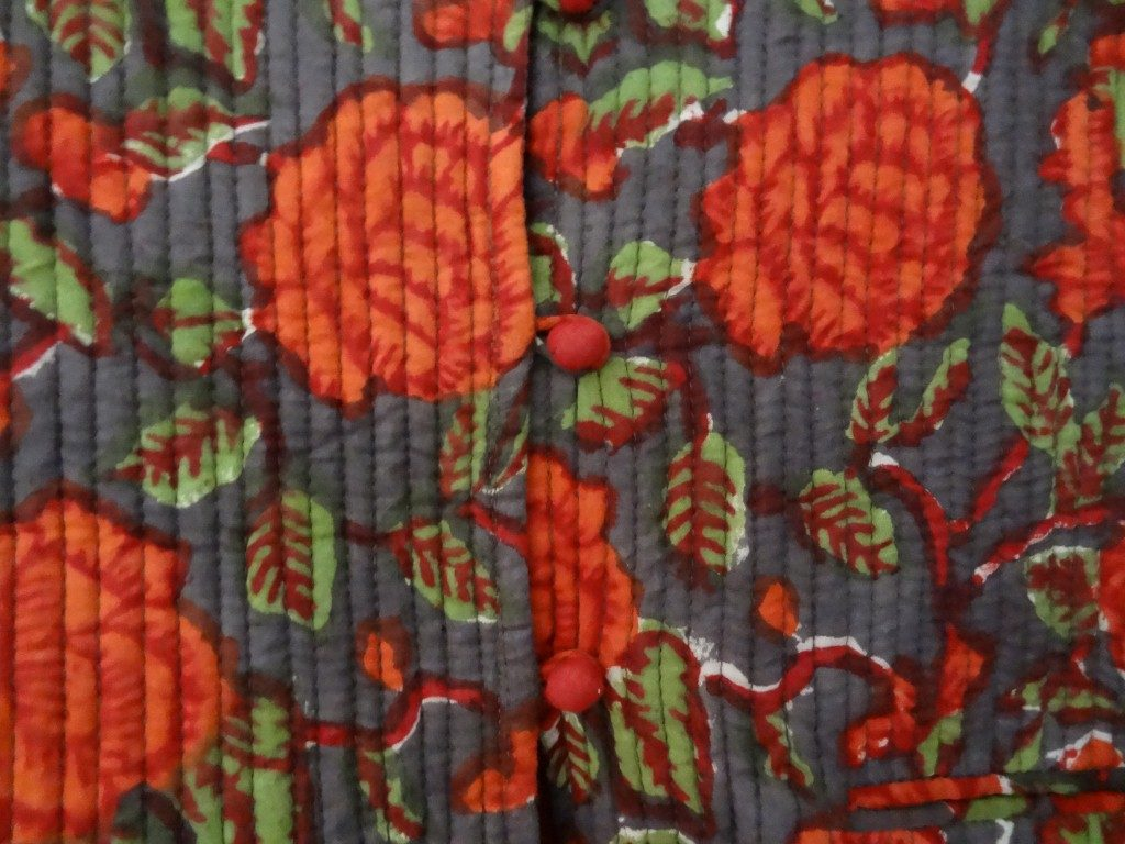 Detail of block printed Indian cotton lightly quilted jacket