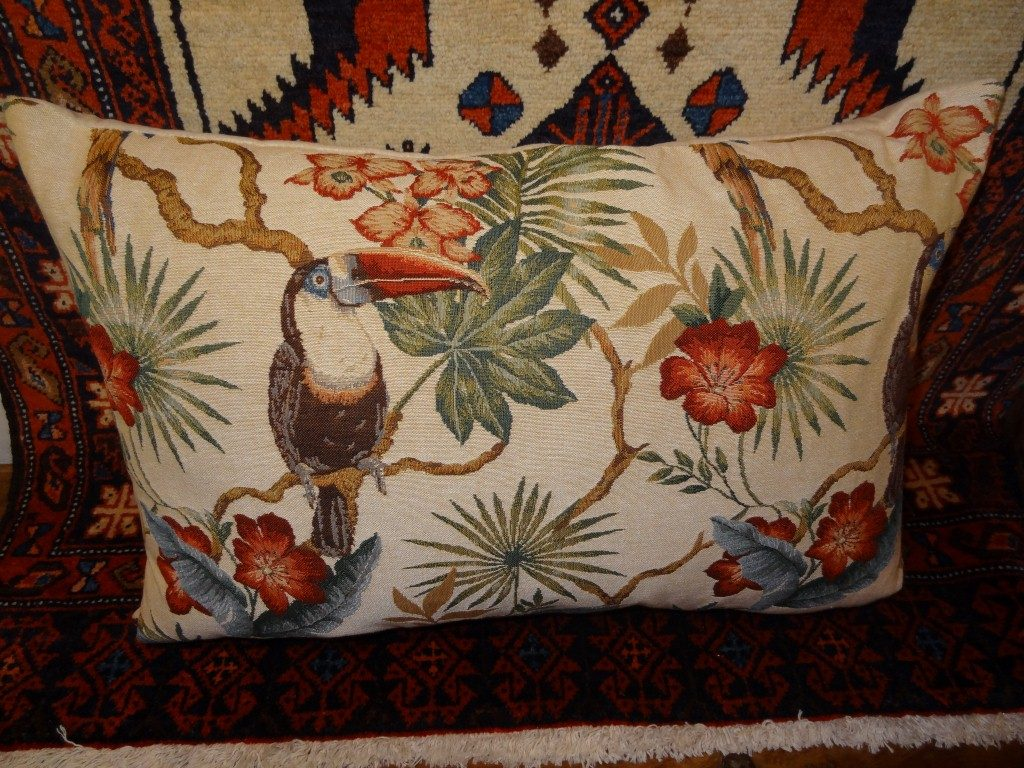 "Cream ""Toucan and Parrot"" cushion"