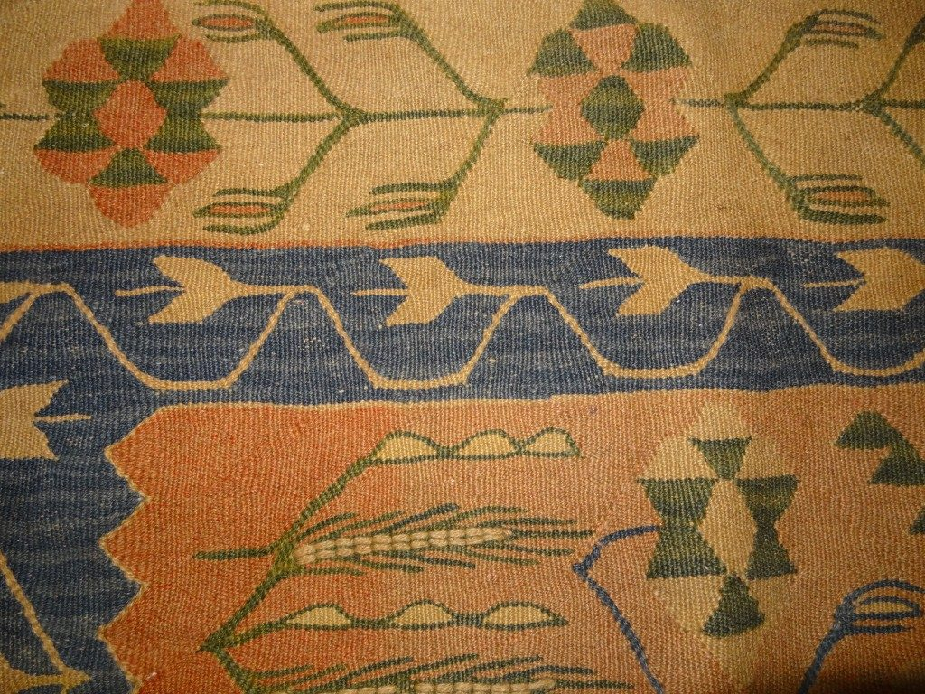 Turkish Konya kilim with blue border