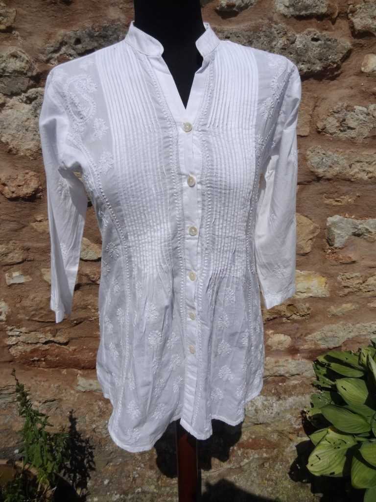 Plain white cotton Indian shirt with white embroidery