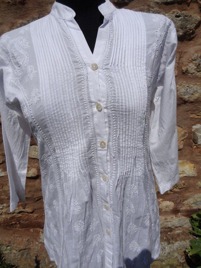Plain white kaftan Indian cotton shirt