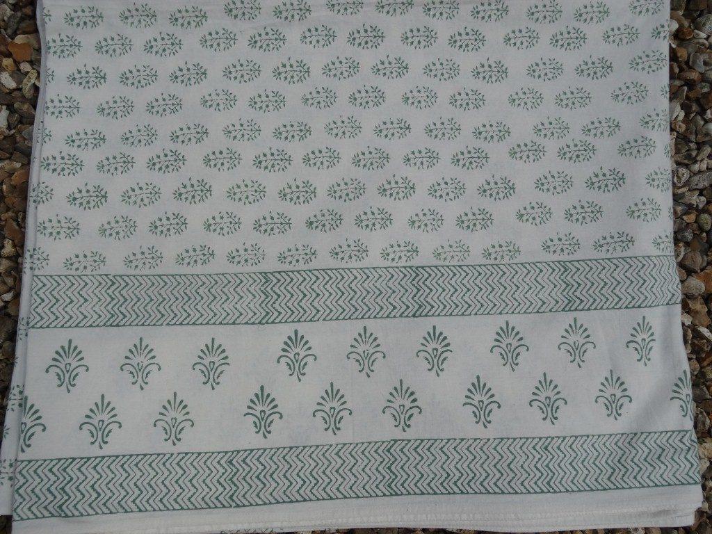 """Green fern"" block print tablecloth/bedspread"